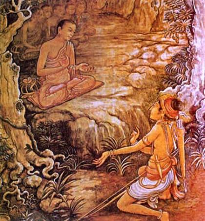 Arhath Mahinda meets King Devanampiya Tissa at Mihintale