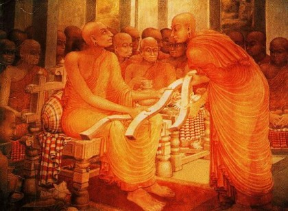 Buddhaghosa presents his Visuddhimagga (P?li: Path of Purification), a comprehensive manual of Theravada Buddhism that is still read and studied today:  a panel of the murals at Kelaniya Temple, Colombo, Sri Lanka