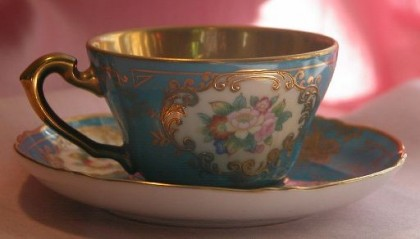Noritake-Gold-Turquoise-Blue-Hand-Painted-Porcelain-Tea-Cup